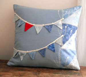 Handmade cushion with bunting